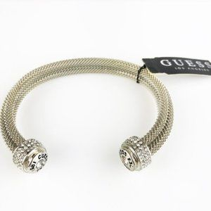 NWT Guess Cable Bangle Crystal Endcaps Silvertone